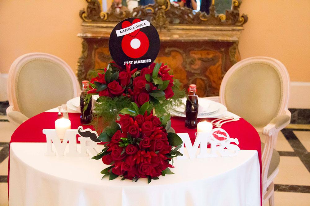 matrimonio rockabilly tavola sposi