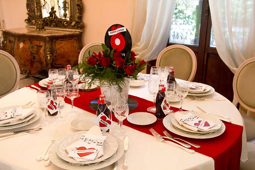 matrimonio rockabilly allestimento tavola