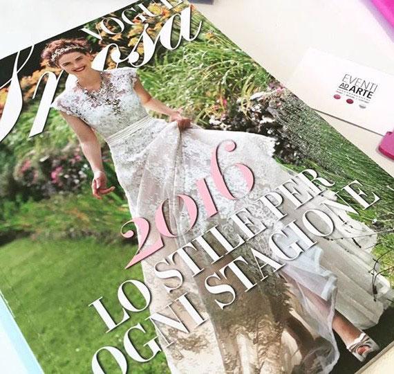 Riviste di aggiornamento Vogue Sposa dove Eventi ad Arte prende ispirazione